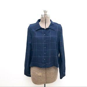 Zara Basics Navy Button Up L/S Crop Blouse - XL